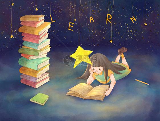 爱读书的女孩图片