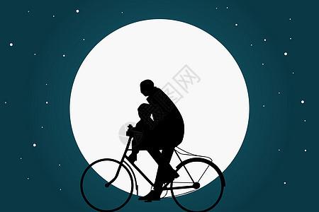 骑自行的爸爸和孩子图片