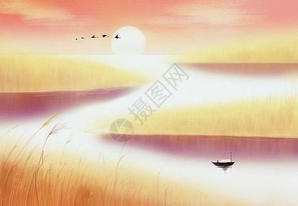落霞与孤雁齐飞 秋水空长天一色图片