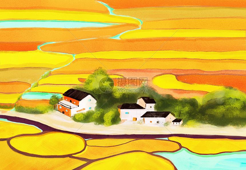 秋天里金黄色美丽的乡村图片