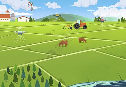 在丰收的田野上放风筝图片