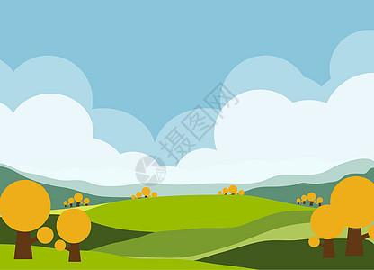 卡通草地田园风景插画图片