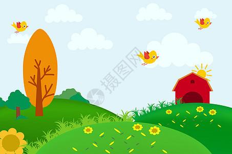 矢量手绘花鸟树木草地插画图片