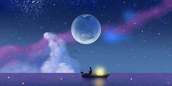 星空钓鱼场景插画图片