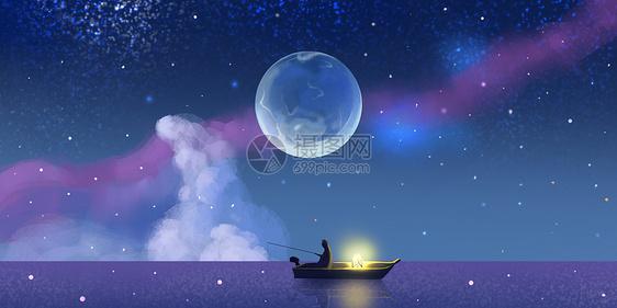 星空钓鱼人物场景插画图片