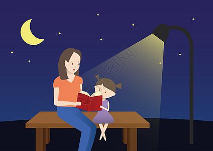 在灯下阅读的母女图片