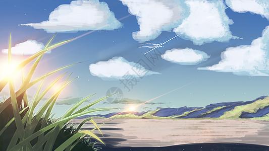手绘蓝天白云下的自然风景图片