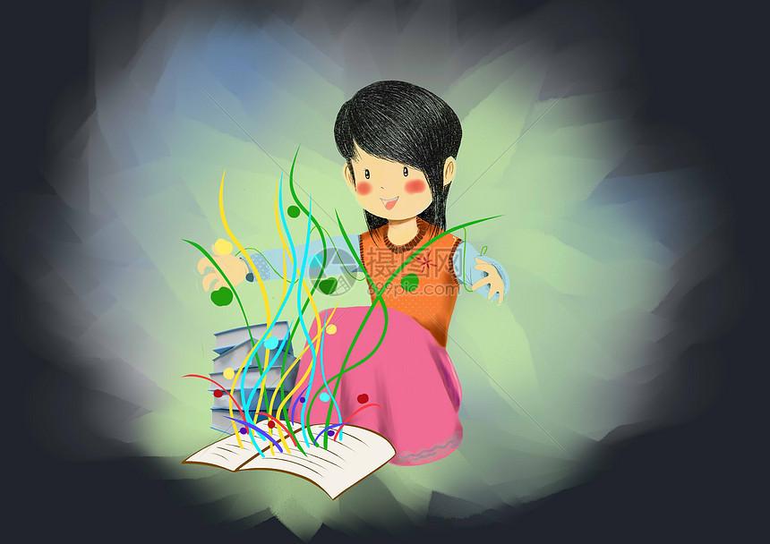 矢量手绘看书的小女孩