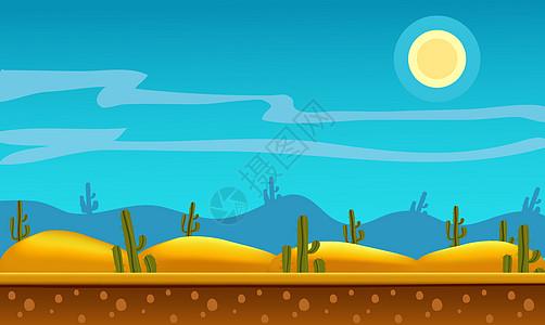 卡通手绘沙漠中的仙人掌插图图片