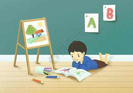 儿童房里看书画画的小孩图片