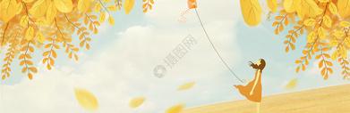 秋季放风筝的小女孩图片