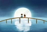 中秋赏月插画图片