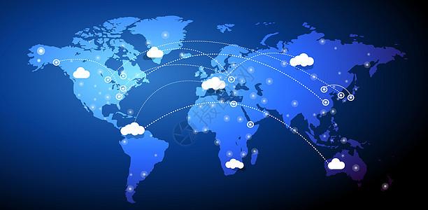 全球化云端信息科技背景图片