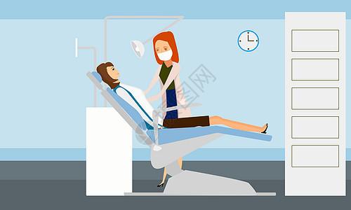 美女在医生的指导下做检查图片
