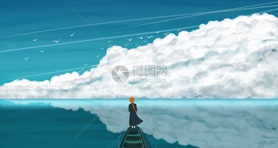 手绘大海与少女蓝色背景图片