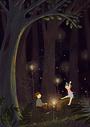 树林里玩耍的小孩图片