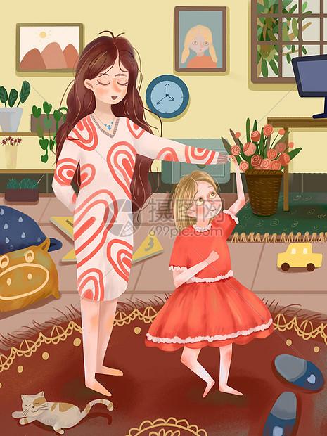母女跳舞图片
