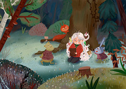 童话森林里看书的女孩图片