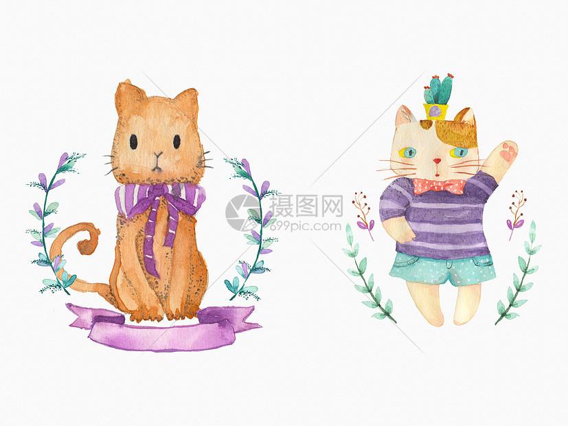 唯美图片 背景素材 手绘水彩猫咪psd  分享: qq好友 微信朋友圈 qq