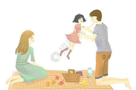 亲子户外插画图片