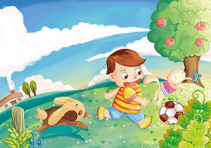 放学后小男孩和小动物们尽情的玩耍图片