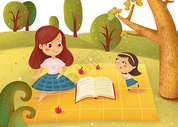 亲子教育插画图片