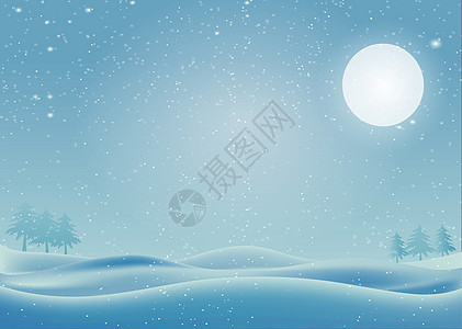 下雪的冬天郊外的月亮图片