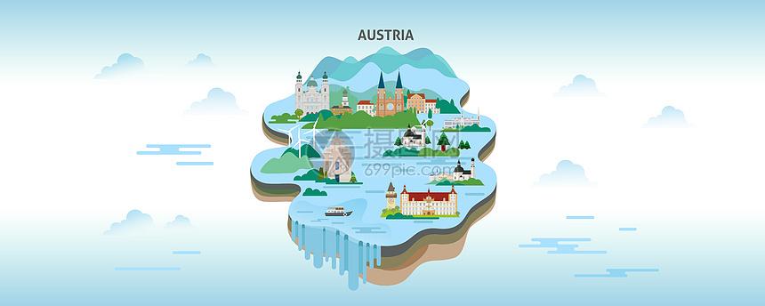 奥地利小镇旅游城市矢量