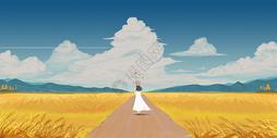 金黄的秋天插画图片