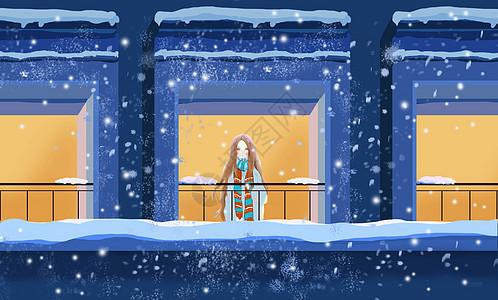 看雪景的女孩图片