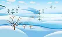 卡通冬季雪景风景插画图片