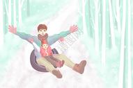 亲子滑雪插画图片