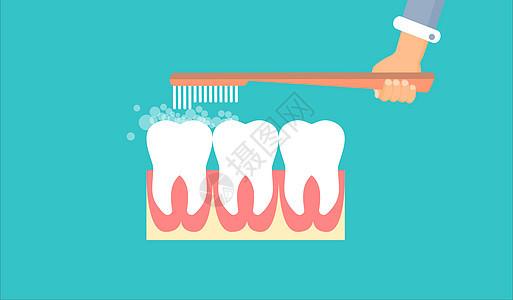 刷牙扁平图案图片