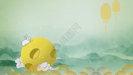 中秋圆月和兔子图片