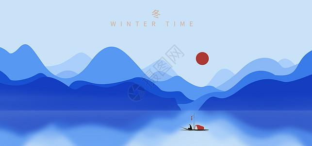 冬插画蓝色背景图片
