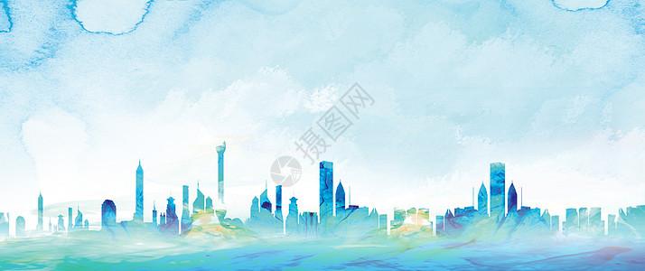 城市水彩插画图片