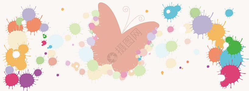 彩色颜料喷溅蝴蝶粉色背景图片