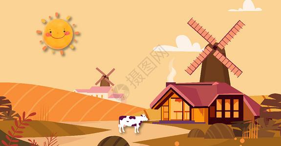 美丽农场小屋风景图片