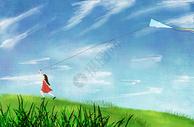 田野放风筝图片