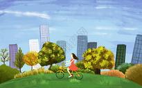 女孩骑自行车图片