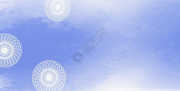 手绘水彩蓝色花纹背景图片