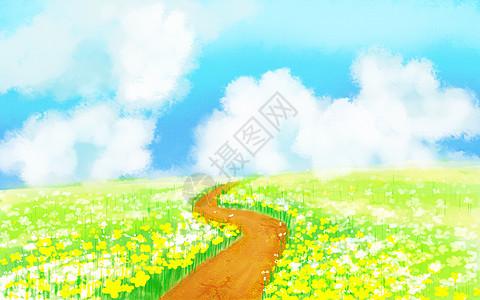 唯美手绘田园风景背景图片