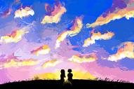 夕阳天空插画图片