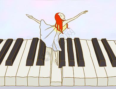 在钢琴键上跳舞手绘图片
