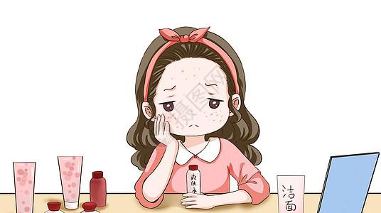 美女祛痘护肤的美容图片