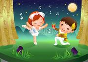 儿童舞台插画图片