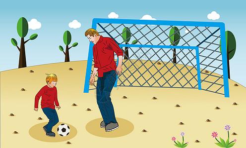 父子俩在足球场上踢足球图片
