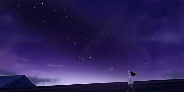 屋顶上星空插画图片