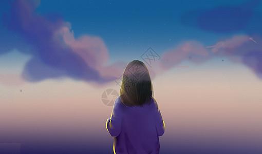 仰望的女孩插画图片