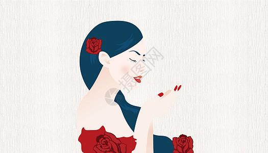 美女侧面插画图片
